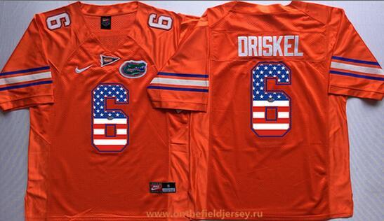 Men's Florida Gators #6 Jeff Driskel Orange USA Flag Fashion Stitched Nike NCAA Jersey