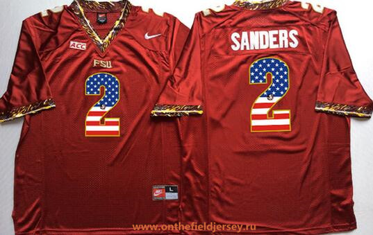 Men's Florida State Seminoles #2 Deion Sanders Red USA Flag Fashion Stitched Nike NCAA Jersey