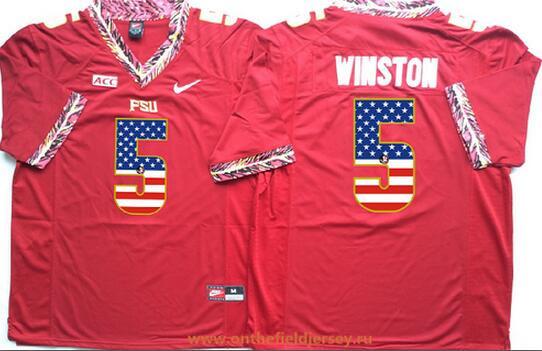 Men's Florida State Seminoles #5 Jameis Winston Red USA Flag Fashion Stitched Nike NCAA Jersey