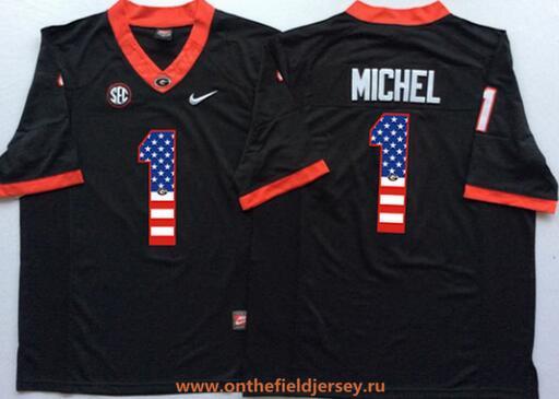Men's Georgia Bulldogs #1 Sony Michel Black USA Flag Fashion Stitched Nike NCAA Jersey