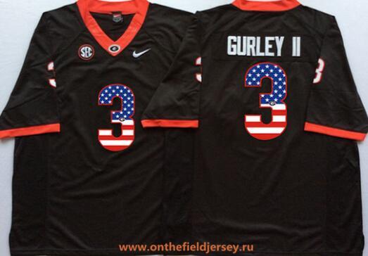Men's Georgia Bulldogs #3 Todd Gurley II Black USA Flag Fashion Stitched Nike NCAA Jersey