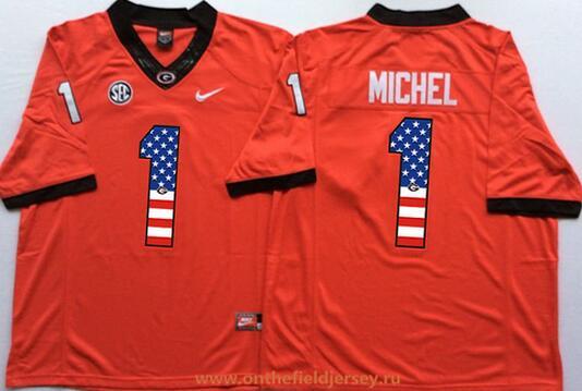 Men's Georgia Bulldogs #1 Sony Michel Red USA Flag Fashion Stitched Nike NCAA Jersey