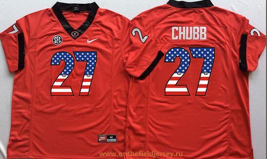 Men's Georgia Bulldogs #27 Nick Chubb Red USA Flag Fashion Stitched Nike NCAA Jersey