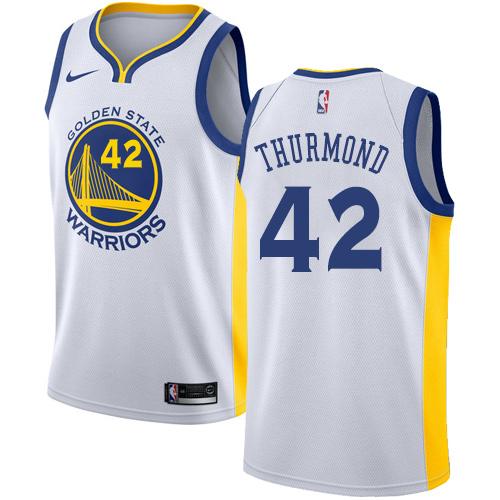 Golden State Warriors #42 Nate Thurmond White Nike NBA Home Men's Stitched Swingman Jersey
