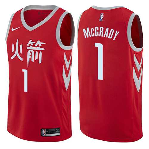 Houston Rockets #1 Tracy McGrady Red Nike NBA Men's Stitched Swingman Jersey City Edition