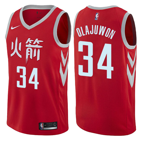 Houston Rockets #34 Hakeem Olajuwon Red Nike NBA Men's Stitched Swingman Jersey City Edition