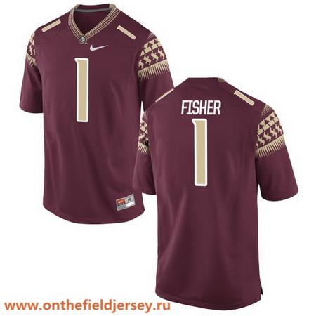 Men's Florida State Seminoles #1 Jimbo Fisher Red Stitched College Football 2016 Nike NCAA Jersey