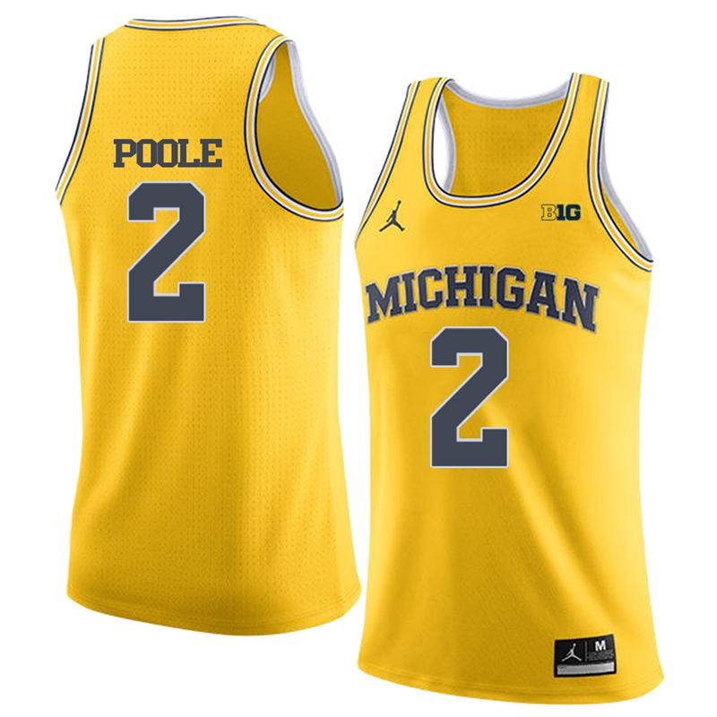 Jordan Brand University of Michigan Wolverines Basketball Yellow Poole #2 Jersey