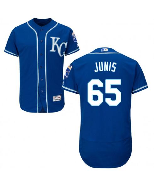 Men's Kansas City Royals #65 Jake Junis Royal Alternate Flex Base Jersey