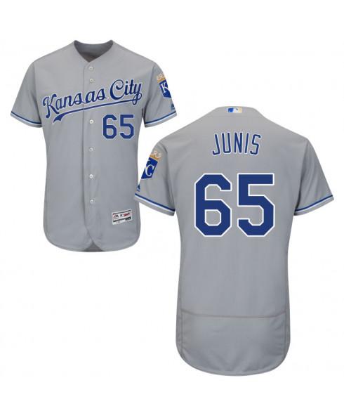 Men's Kansas City Royals #65 Jake Junis Gray Road Flex Base Jersey