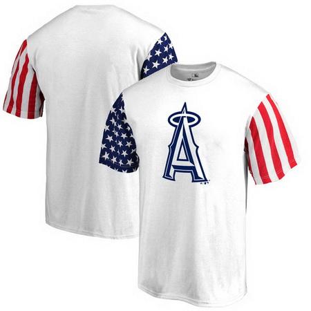 Los Angeles Angels of Anaheim Fanatics Branded Stars & Stripes T-Shirt - White