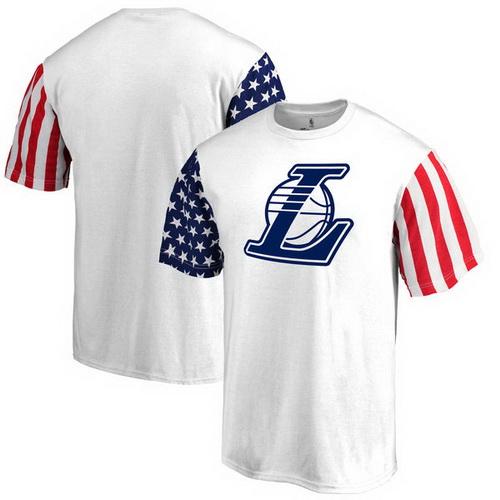 Los Angeles Lakers Fanatics Branded Stars & Stripes T-Shirt - White
