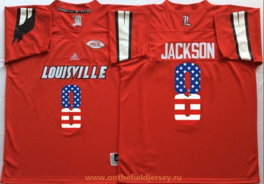 Men's Louisville Cardinals #8 Lamar Johnson Red USA Flag Fashion Stitched adidas NCAA Jersey