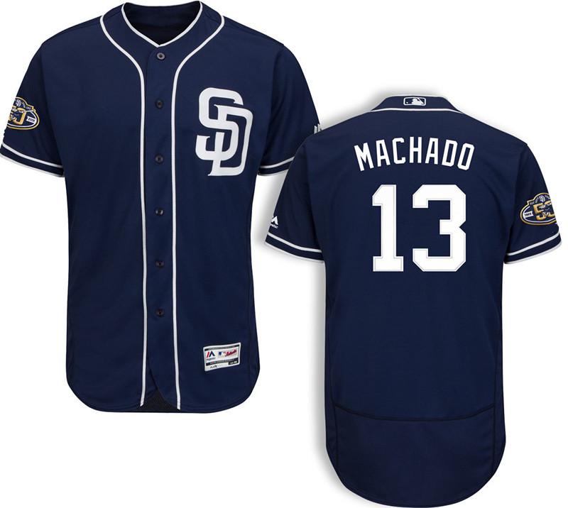 Men's San Diego Padres #13 Manny Machado Majestic Navy Blue Stitched 50th Anniversary Patch Flex Base Jersey
