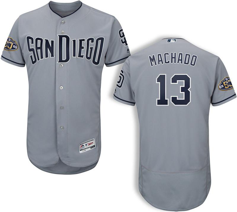 Men's San Diego Padres #13 Manny Machado Majestic Gray Road Stitched 50th Anniversary Patch Flex Base Jersey