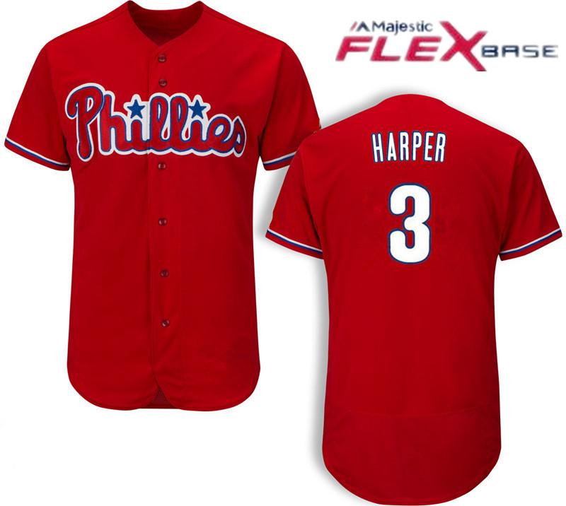 Men's #3 Bryce Harper Philadelphia Phillies Red On-Field Flex Base Jersey by Majestic