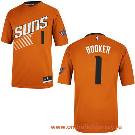 Men's Phoenix Suns #1 Devin Booker Orange Short-Sleeved Stitched NBA adidas Revolution 30 Swingman Jersey