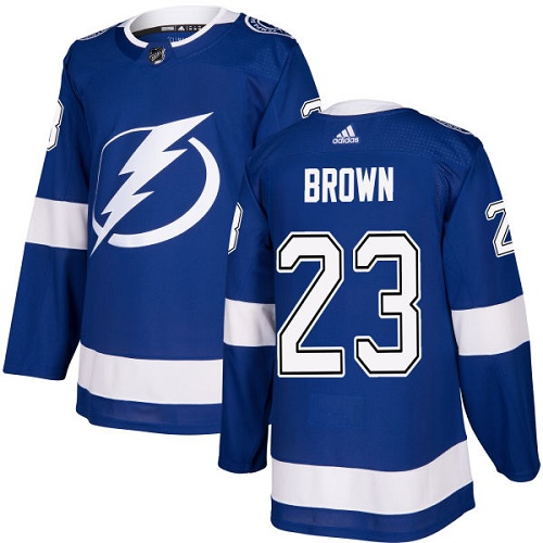 Men's Adidas Tampa Bay Lightning #23 J.T. Brown Authentic Royal Blue Home NHL Jersey