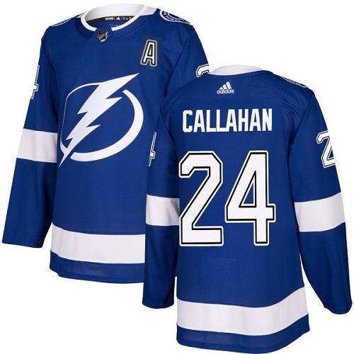 Men's Adidas Tampa Bay Lightning #24 Ryan Callahan Authentic Royal Blue Home NHL Jersey
