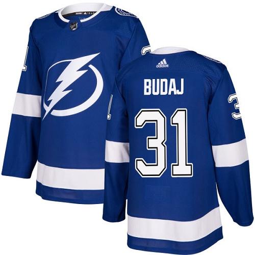 Men's Adidas Tampa Bay Lightning #31 Peter Budaj Authentic Royal Blue Home NHL Jersey