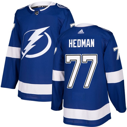 Men's Adidas Tampa Bay Lightning #77 Victor Hedman Authentic Royal Blue Home NHL Jersey