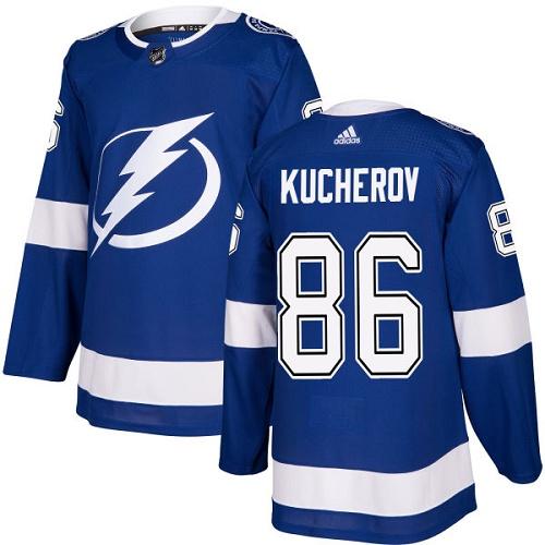 Men's Adidas Tampa Bay Lightning #86 Nikita Kucherov Authentic Royal Blue Home NHL Jersey