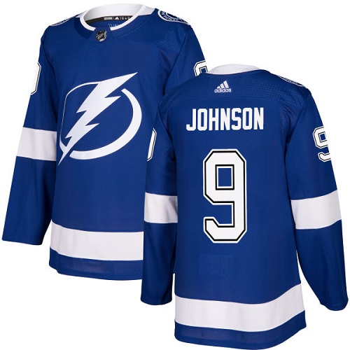 Men's Adidas Tampa Bay Lightning #9 Tyler Johnson Authentic Royal Blue Home NHL Jersey