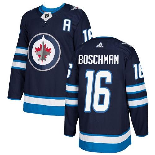 Men's Adidas Winnipeg Jets #16 Laurie Boschman Authentic Navy Blue Home NHL Jersey
