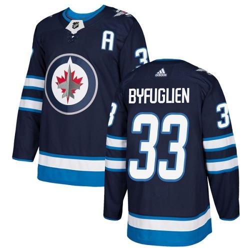 Men's Adidas Winnipeg Jets #33 Dustin Byfuglien Authentic Navy Blue Home NHL Jersey