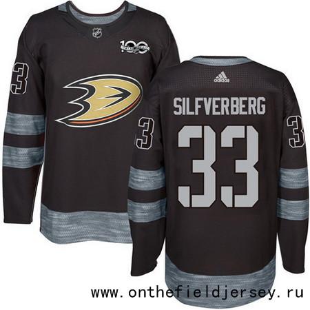 Men's Anaheim Ducks #33 Jakob Silfverberg Black 100th Anniversary Stitched NHL 2017 adidas Hockey Jersey