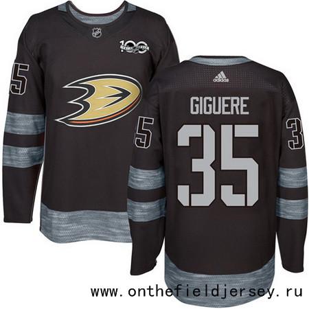Men's Anaheim Ducks #35 Jean-Sebastien Giguere Black 100th Anniversary Stitched NHL 2017 adidas Hockey Jersey