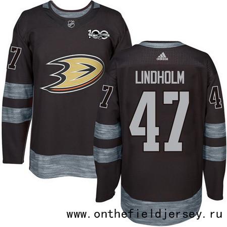 Men's Anaheim Ducks #47 Hampus Lindholm Black 100th Anniversary Stitched NHL 2017 adidas Hockey Jersey