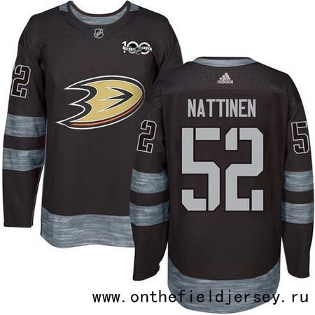 Men's Anaheim Ducks #52 Julius Nattinen Black 100th Anniversary Stitched NHL 2017 adidas Hockey Jersey