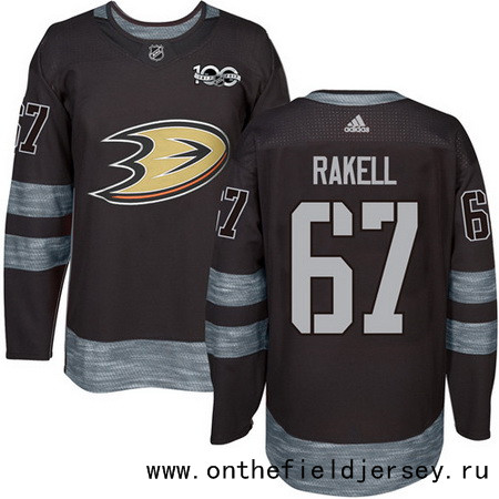 Men's Anaheim Ducks #67 Rickard Rakell Black 100th Anniversary Stitched NHL 2017 adidas Hockey Jersey