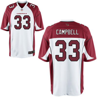 Men's Arizona Cardinals #33 Chris Campbell White Road Stitched NFL Nike Game Jersey