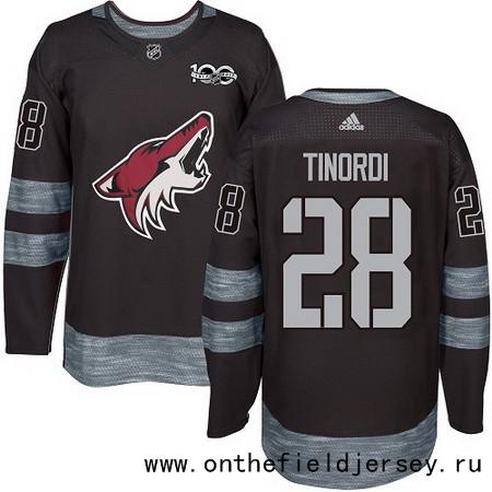 Men's Arizona Coyotes #28 Jarred Tinordi Black 100th Anniversary Stitched NHL 2017 adidas Hockey Jersey