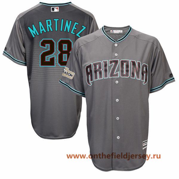 Men's Arizona Diamondbacks JD Martinez Majestic Gray 2017 Postseason Patch Cool Base Player Jersey