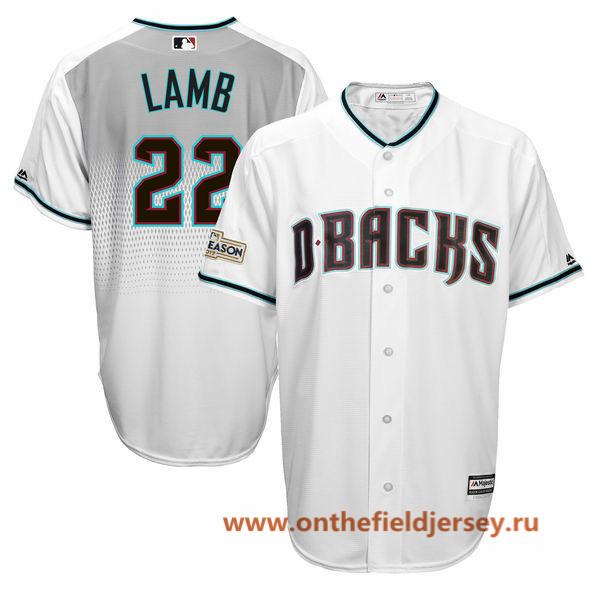 Men's Arizona Diamondbacks Jake Lamb Majestic White 2017 Postseason Patch Cool Base Player Jersey