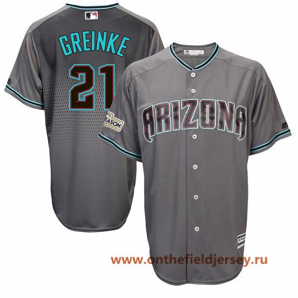 Men's Arizona Diamondbacks Zack Greinke Majestic Gray 2017 Postseason Patch Cool Base Player Jersey