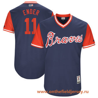 Men's Atlanta Braves Ender Inciarte -Ender- Majestic Navy 2017 Little League World Series Players Weekend Stitched Nickname Jersey
