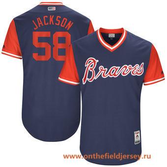 Men's Atlanta Braves Luke Jackson -Jackson- Majestic Navy 2017 Little League World Series Players Weekend Stitched Nickname Jersey