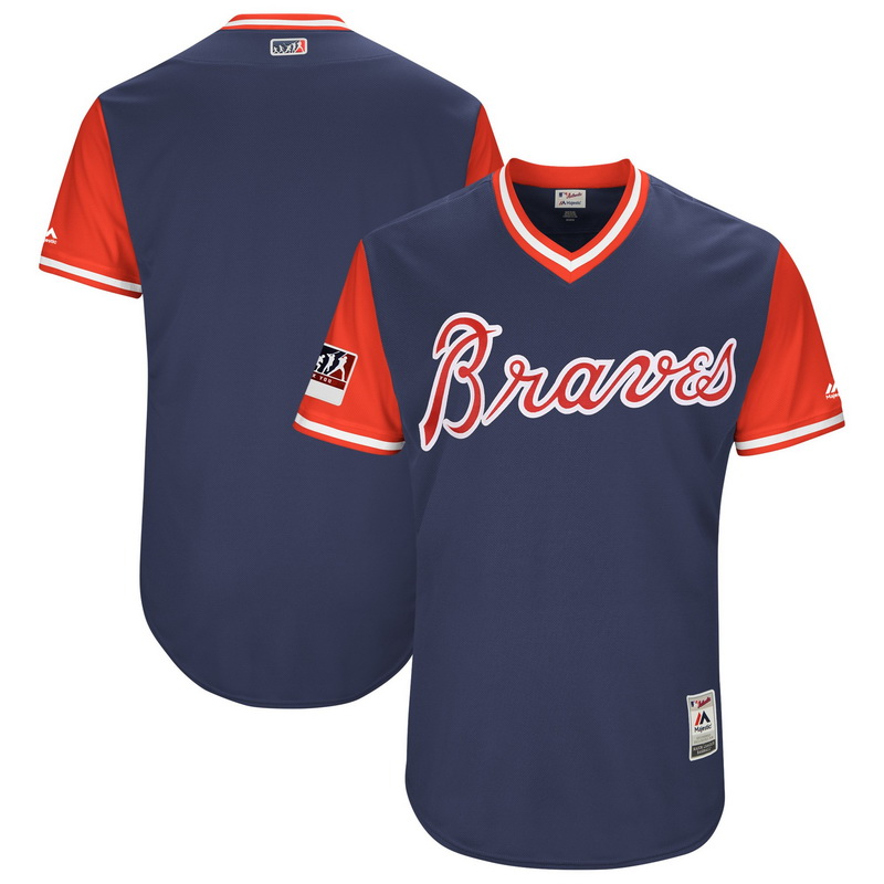 Men's Atlanta Braves Majestic Navy-Red 2018 Players' Weekend Authentic Team Jersey
