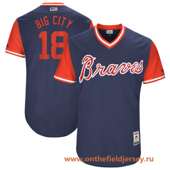 Men's Atlanta Braves Matt Adams -Big City- Majestic Navy 2017 Little League World Series Players Weekend Stitched Nickname Jersey