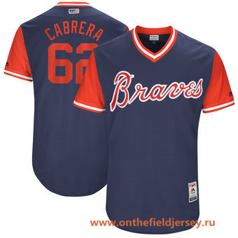 Men's Atlanta Braves Mauricio Cabrera -Cabrera- Majestic Navy 2017 Little League World Series Players Weekend Stitched Nickname Jersey