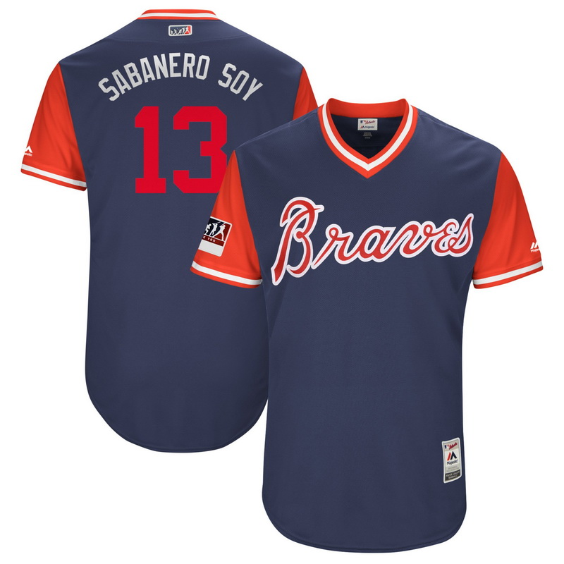 Men's Atlanta Braves Ronald Acuna Jr. Sabanero Soy Majestic Navy-Red 2018 Players' Weekend Authentic Jersey