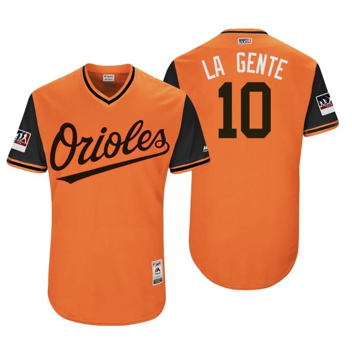 Men's Baltimore Orioles Authentic Adam Jones #10 Orange 2018 LLWS Players Weekend La Gente Jersey