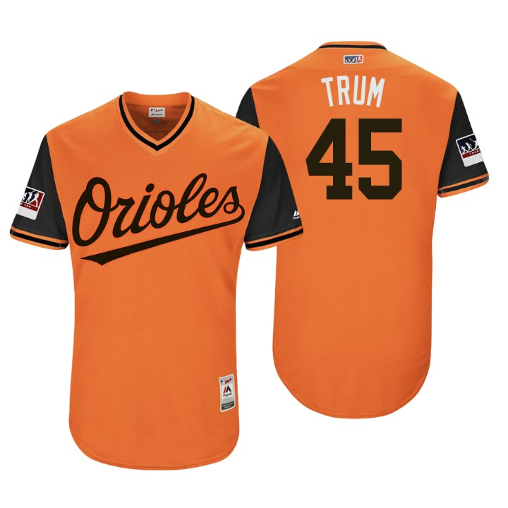 Men's Baltimore Orioles Authentic Mark Trumbo #45 Orange 2018 LLWS Players Weekend Trum Jersey