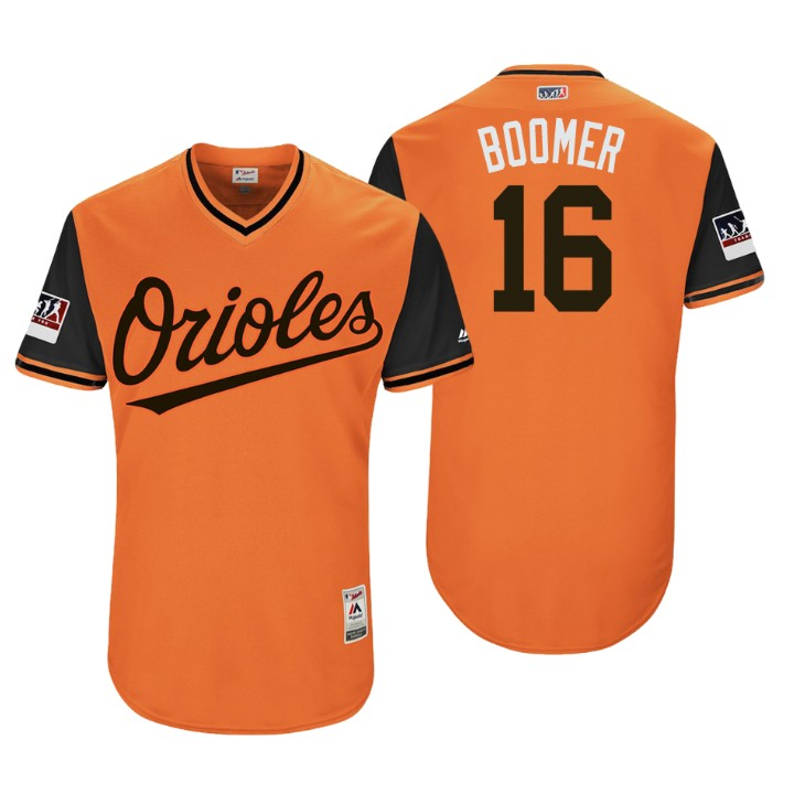 Men's Baltimore Orioles Authentic Trey Mancini #16 Orange 2018 LLWS Players Weekend Boomer Jersey