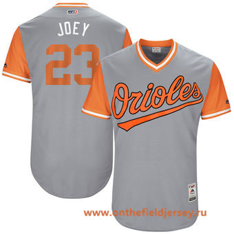 Men's Baltimore Orioles Joey Rickard -Joey- Majestic Gray 2017 Little League World Series Players Weekend Stitched Nickname Jersey