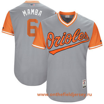 Men's Baltimore Orioles Jonathan Schoop -Mamba- Majestic Gray 2017 Little League World Series Players Weekend Stitched Nickname Jersey